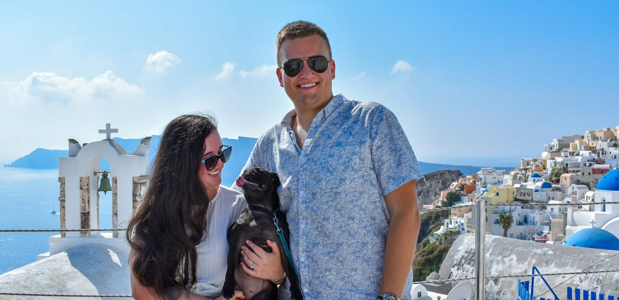 Pebbles The Travelling Pug with Parents Hugh and Abbey