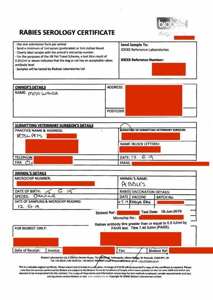 Rabies Serology Certificate example